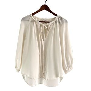 Joie Blouse Peasant 3/4 Sleeve Neck Tie  Off-White